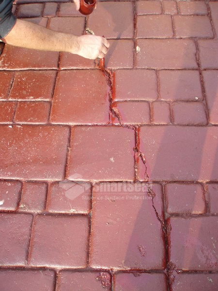 Crack repair on Imprinted concrete surface