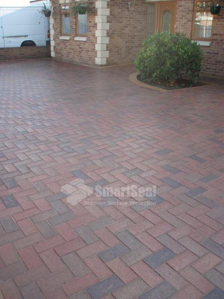 Clay pavers with sealants applied